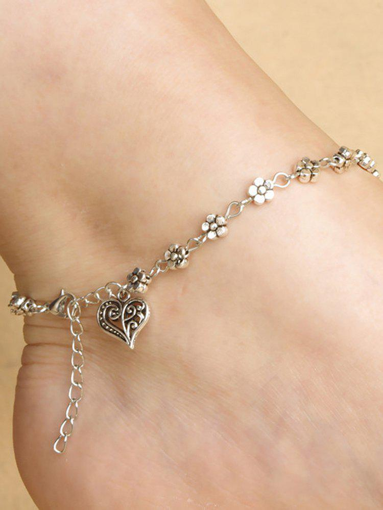 Chain Hollow Heart Flower Beach Anklet - SILVER