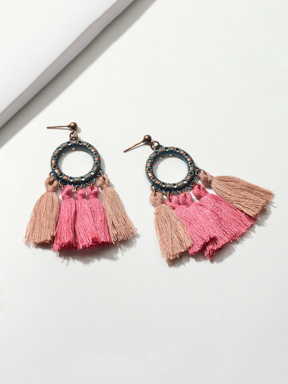 Ethnic Tassel Circle Stud Drop Earrings - LIGHT PINK