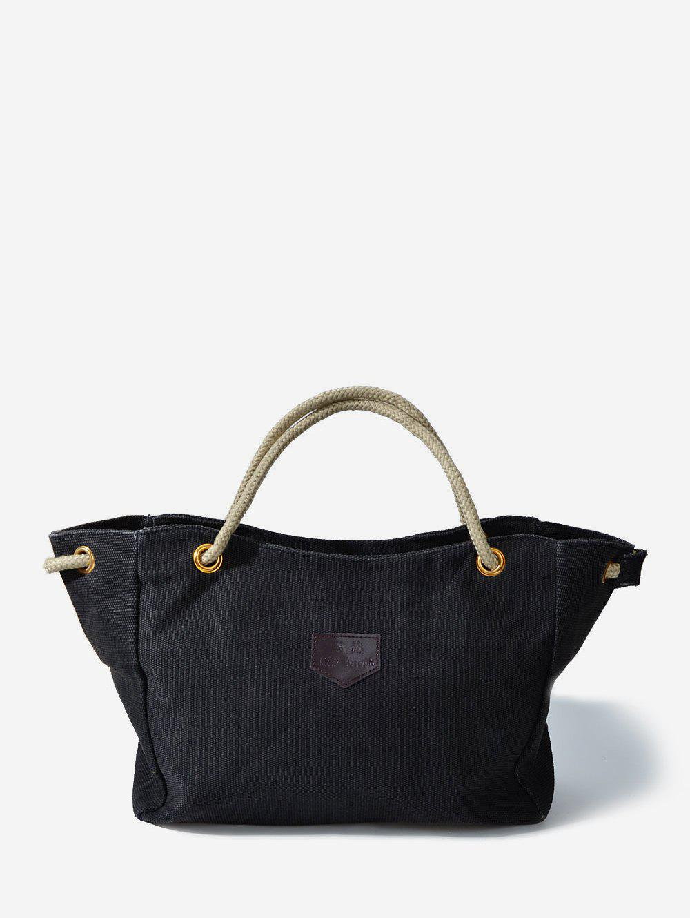 Casual Canvas Rope Tote Bag - BLACK