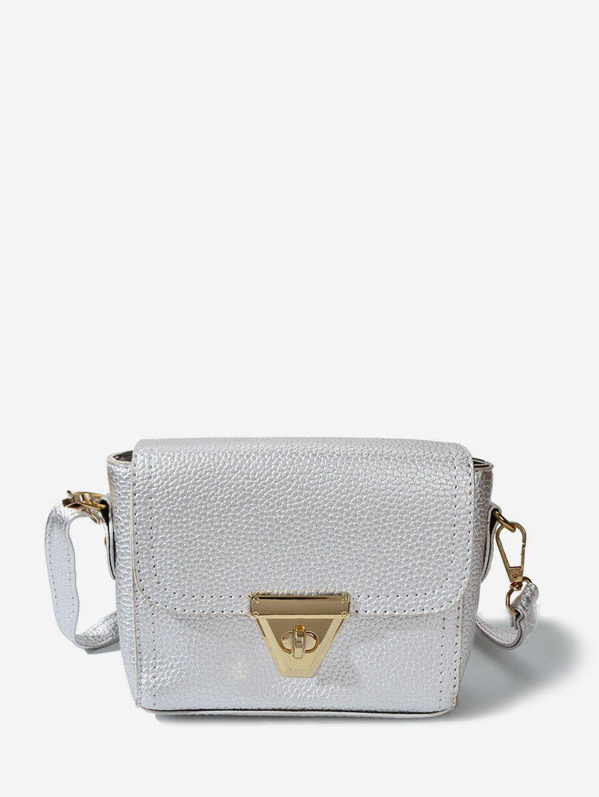 PU Solid Crossbody Bag - WHITE