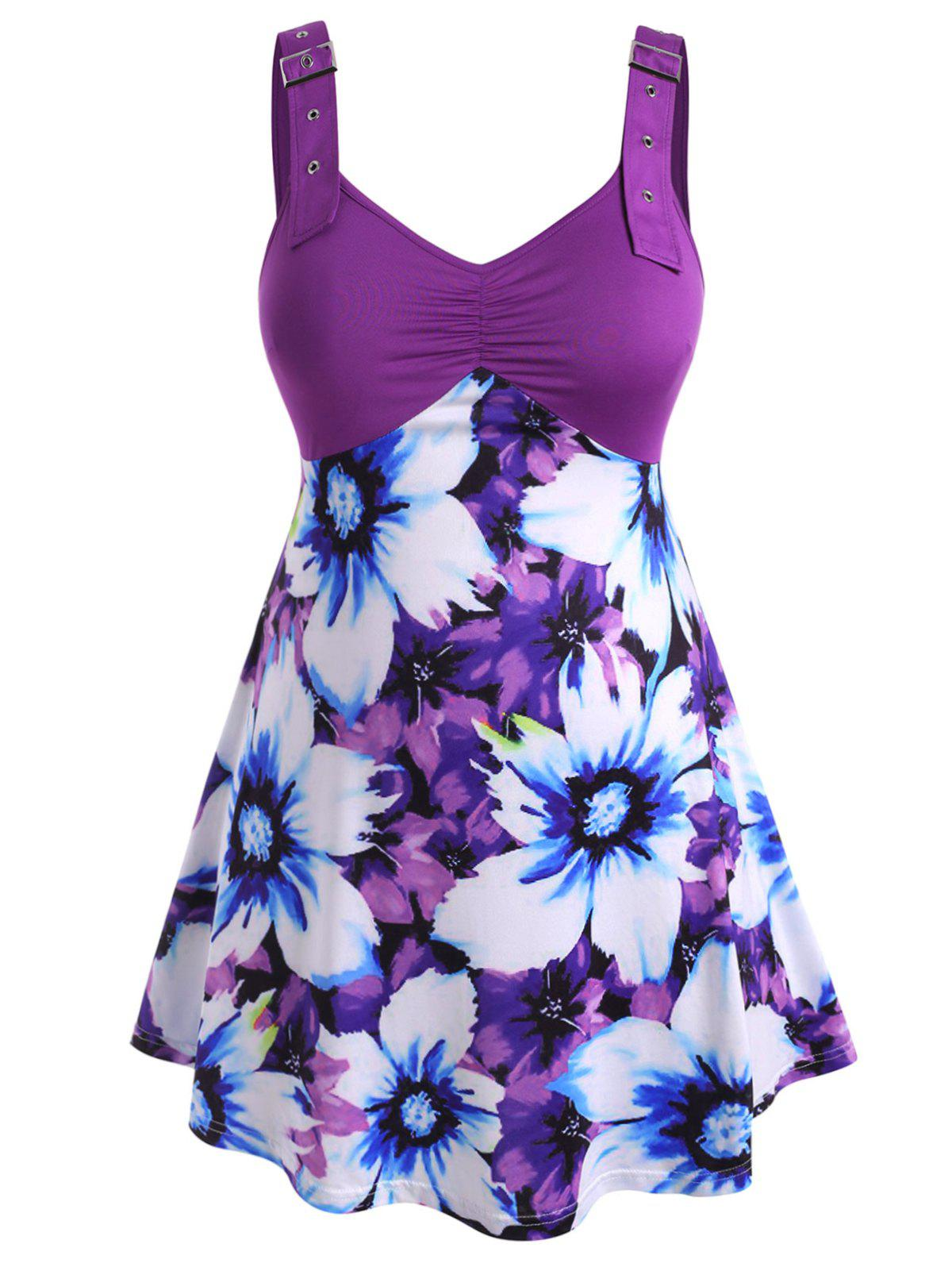 Floral Buckle Straps Gathered Front Plus Size Tank Top - PURPLE 4X