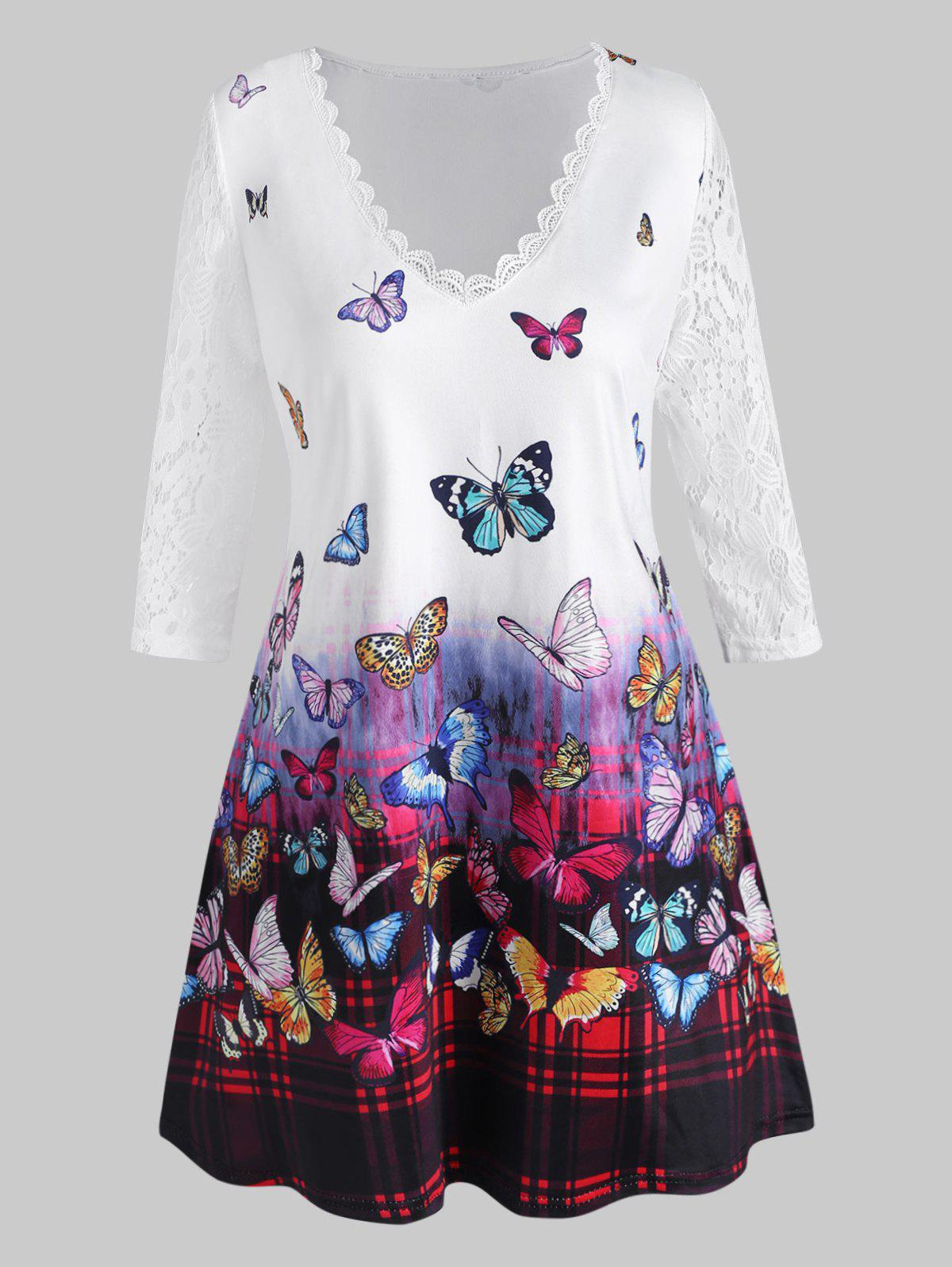 Plus Size Lace Sleeve Butterfly Print T Shirt - WHITE 1X