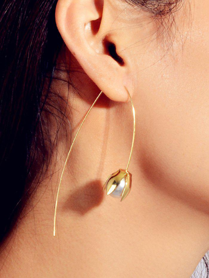 Floral Design Artificial Pearl Earrings - GOLD