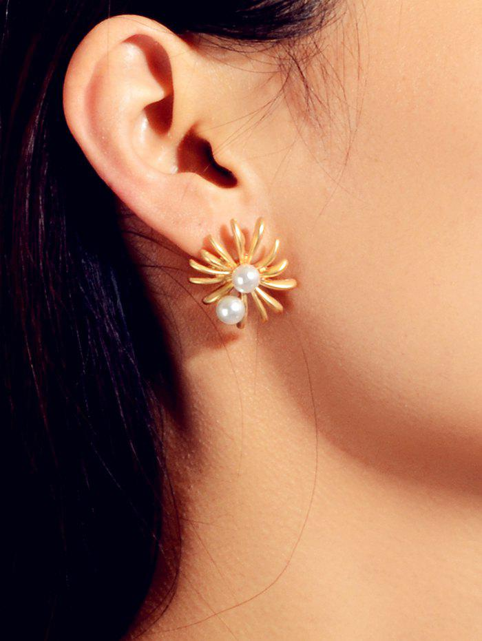 Flower Faux Pearl Stud Earrings - GOLD