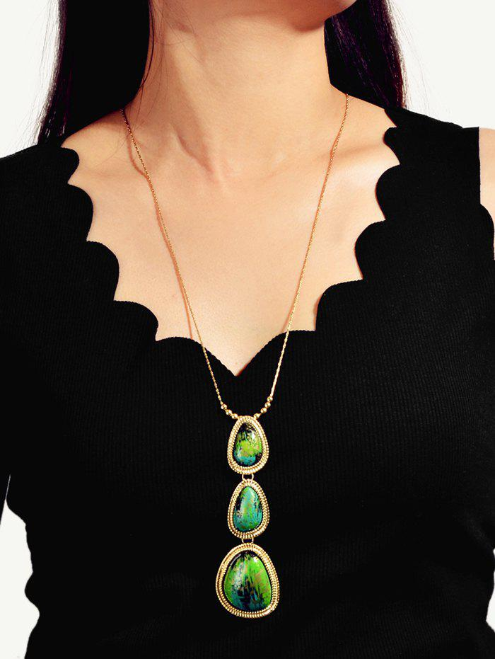 Water Drop Faux Stone Necklace - DEEP GREEN