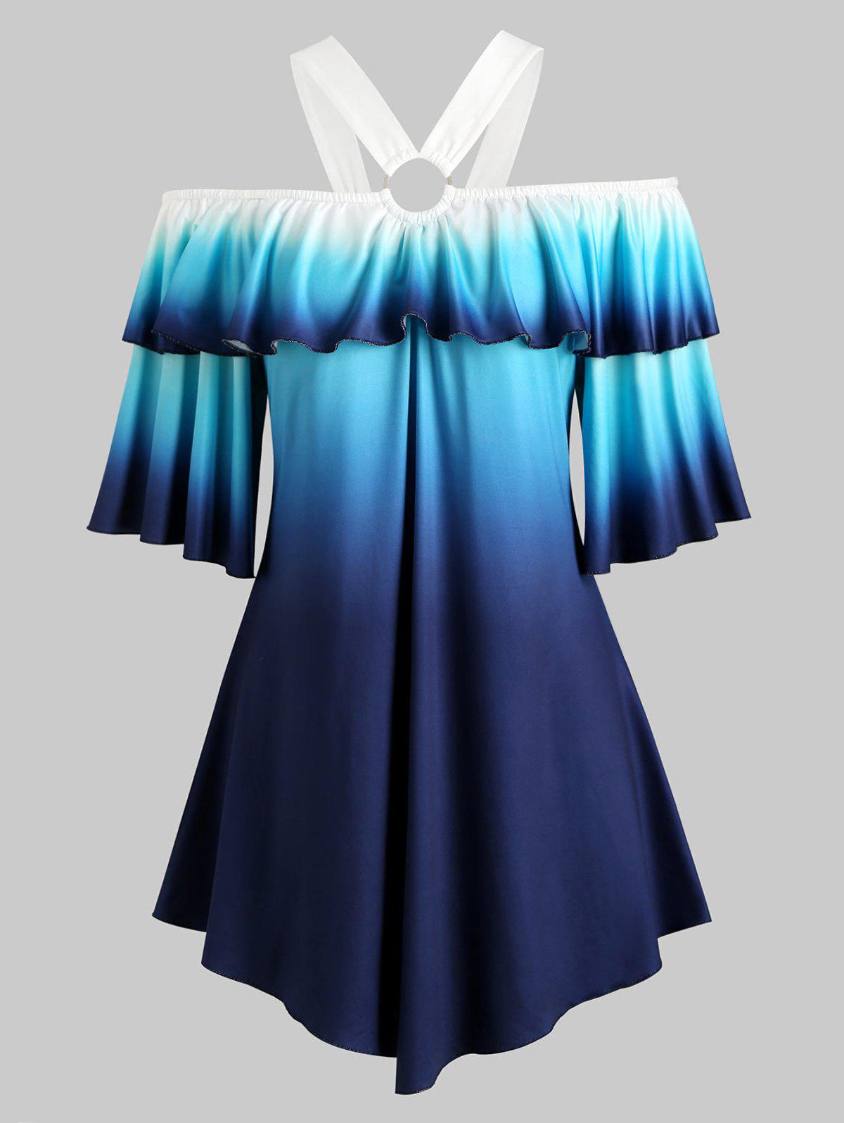 Open Shoulder Flounces O Ring Ombre Plus Size Top - BLUE 5X