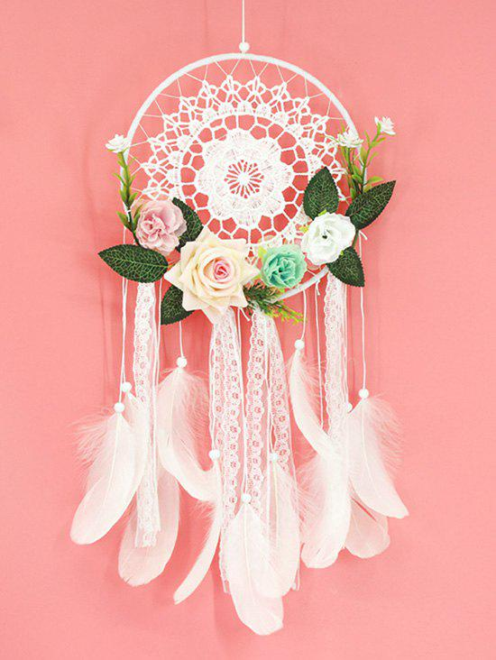 Home Decor Flower Lace Feather Dream Catcher - WHITE WITH LIGHTS