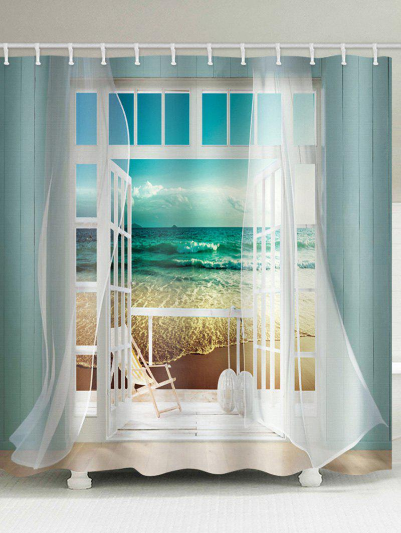 Window Beach Printing Waterproof Shower Curtain - BLUE HOSTA W71 X L71 INCH