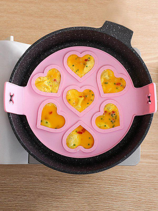 7 Holes Heart-shaped Silicone Egg Baking Mould - PINK