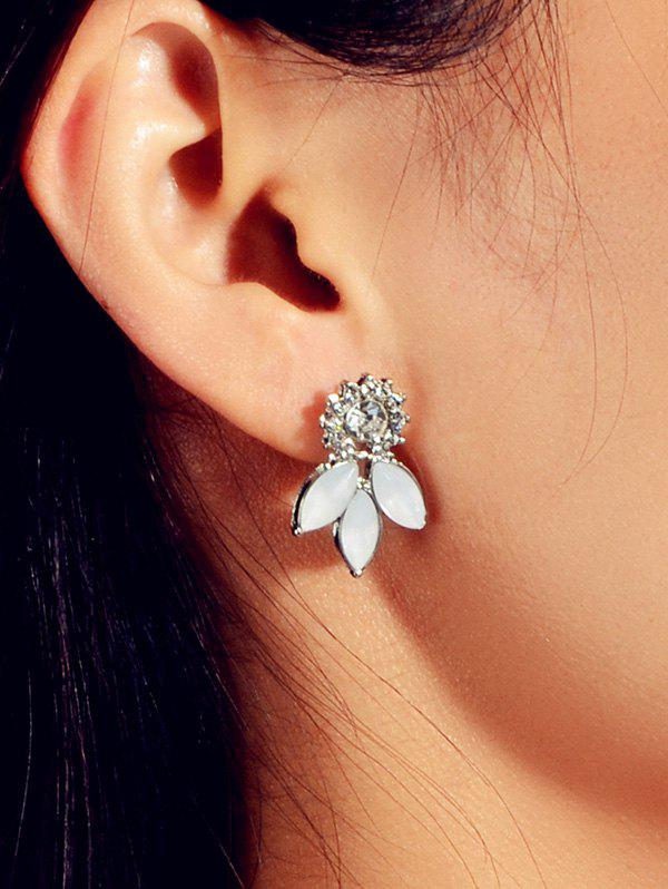 Floral Rhinestones Stud Earrings - SILVER