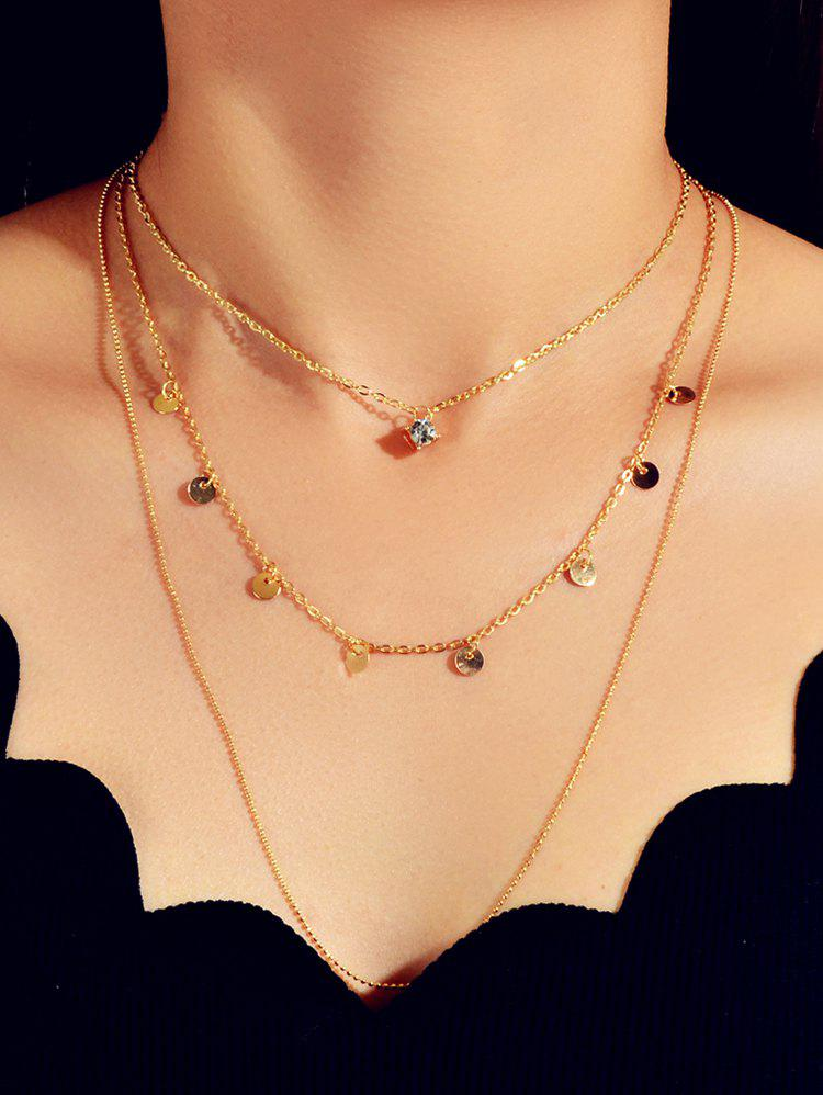 Discs Rhinestone Chain Layered Necklace - GOLD