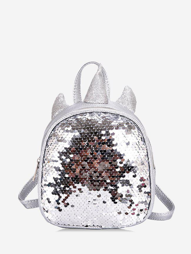 Sequined Unicorn Shape Travel Backpack - SILVER