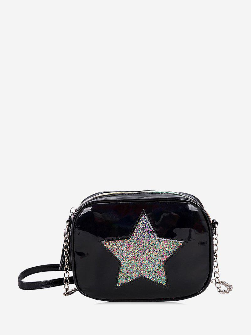 Sequins Five-pointed Star Decor Crossbody Bag - BLACK