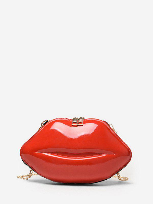 Chain Lip Shape Small Crossbody Bag - RED