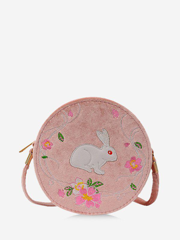 Rabbit Embroidery Floral Pattern Canteen Bag - KHAKI ROSE