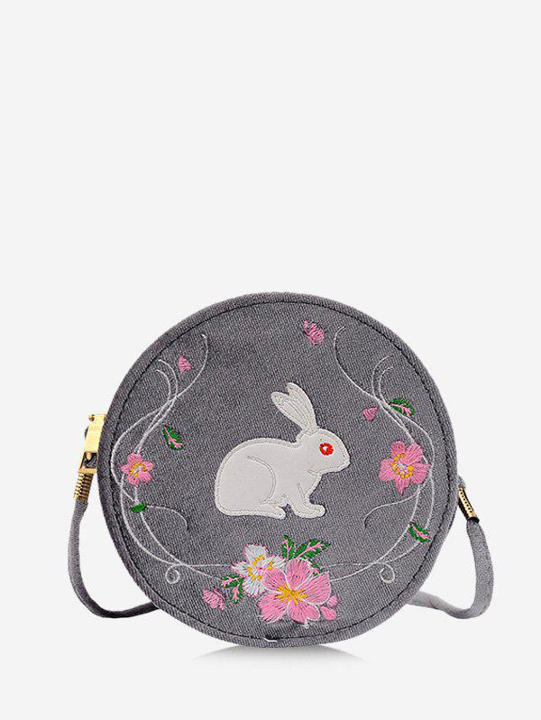 Rabbit Embroidery Floral Pattern Canteen Bag - CLOUDY GRAY