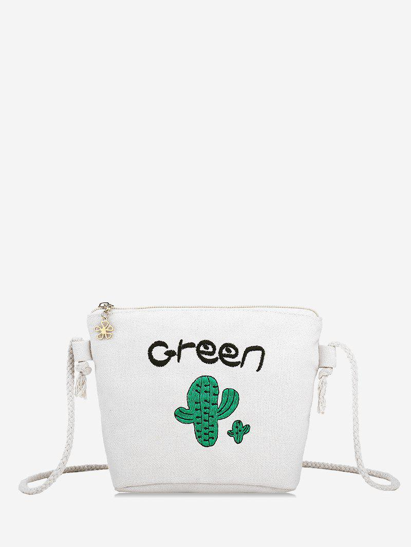 Cactus Embroidery Rope Strap Crossbody Bag - WARM WHITE