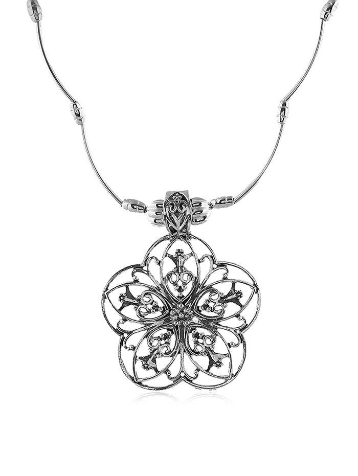 Retro Hollow Out Flower Necklace - SILVER