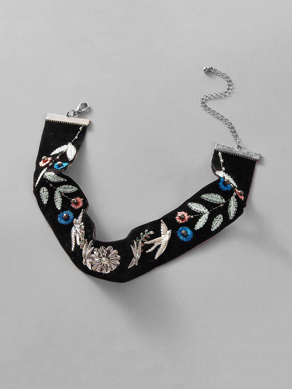 Ethnic Floral Bird Choker Necklace - BLACK