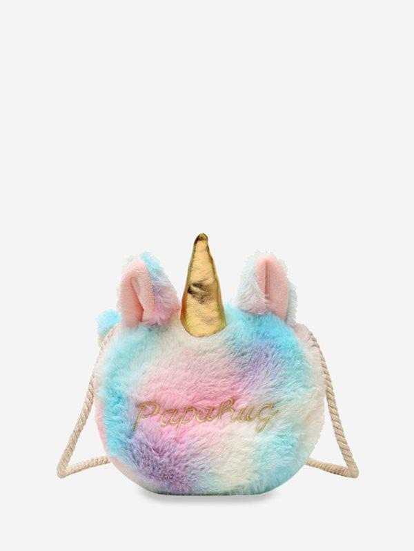Faux Fur Unicorn Rope Crossbody Bag - multicolor