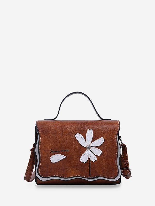 Flower Stitching PU Leather Cross Body Bag - COFFEE