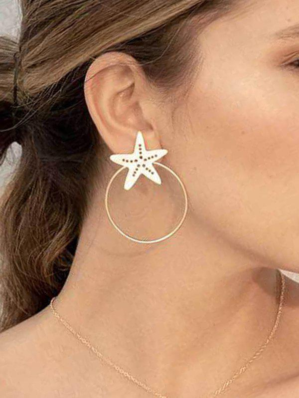 Hollow Starfish Circle Stud Earrings - GOLD