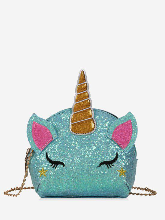 Cartoon Unicorn Sequins Crossbody Bag - TRON BLUE