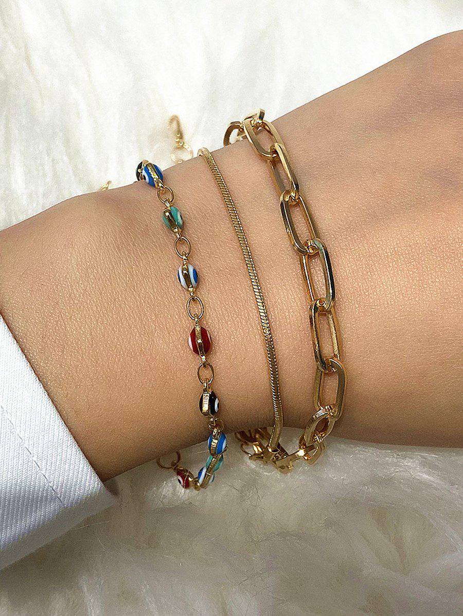 3Pcs Hearts Eye Chain Bracelets Set - GOLD