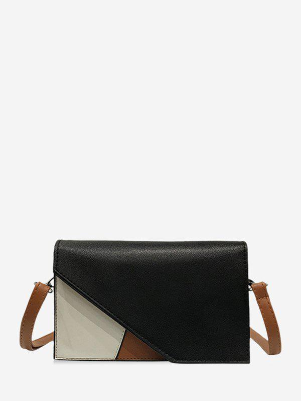 Color Block Square Crossbody Bag - BLACK