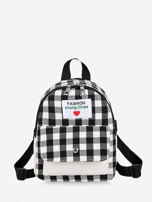 Letter Tartan Print Small Backpack - BLACK