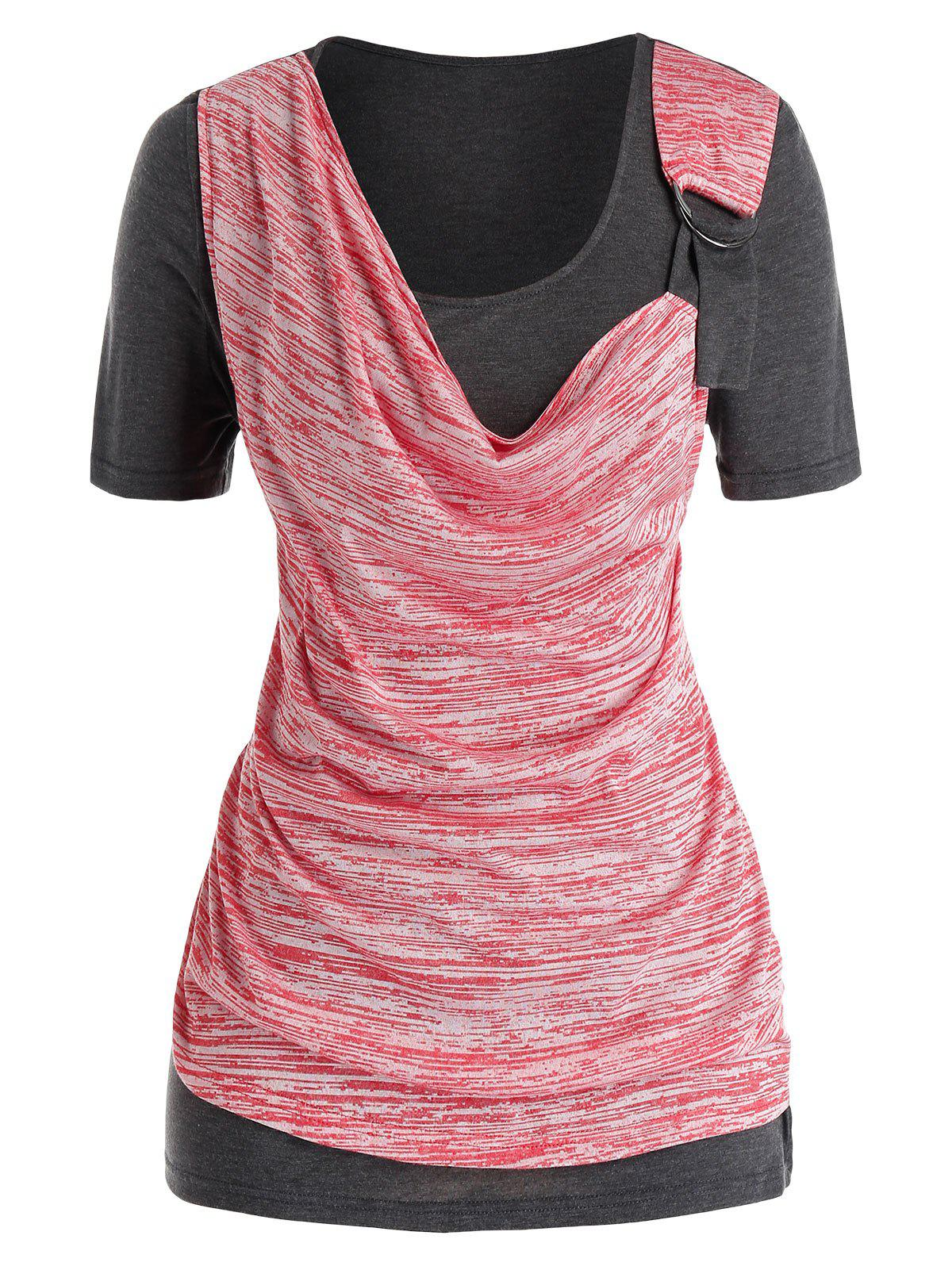 Space Dye Cowl Front O Ring Plus Size Top - WATERMELON PINK 3X