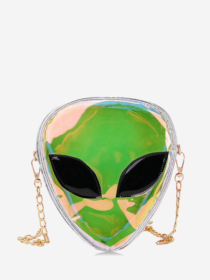 Alien Shape Hologram Chain Crossbody Bag - SILVER
