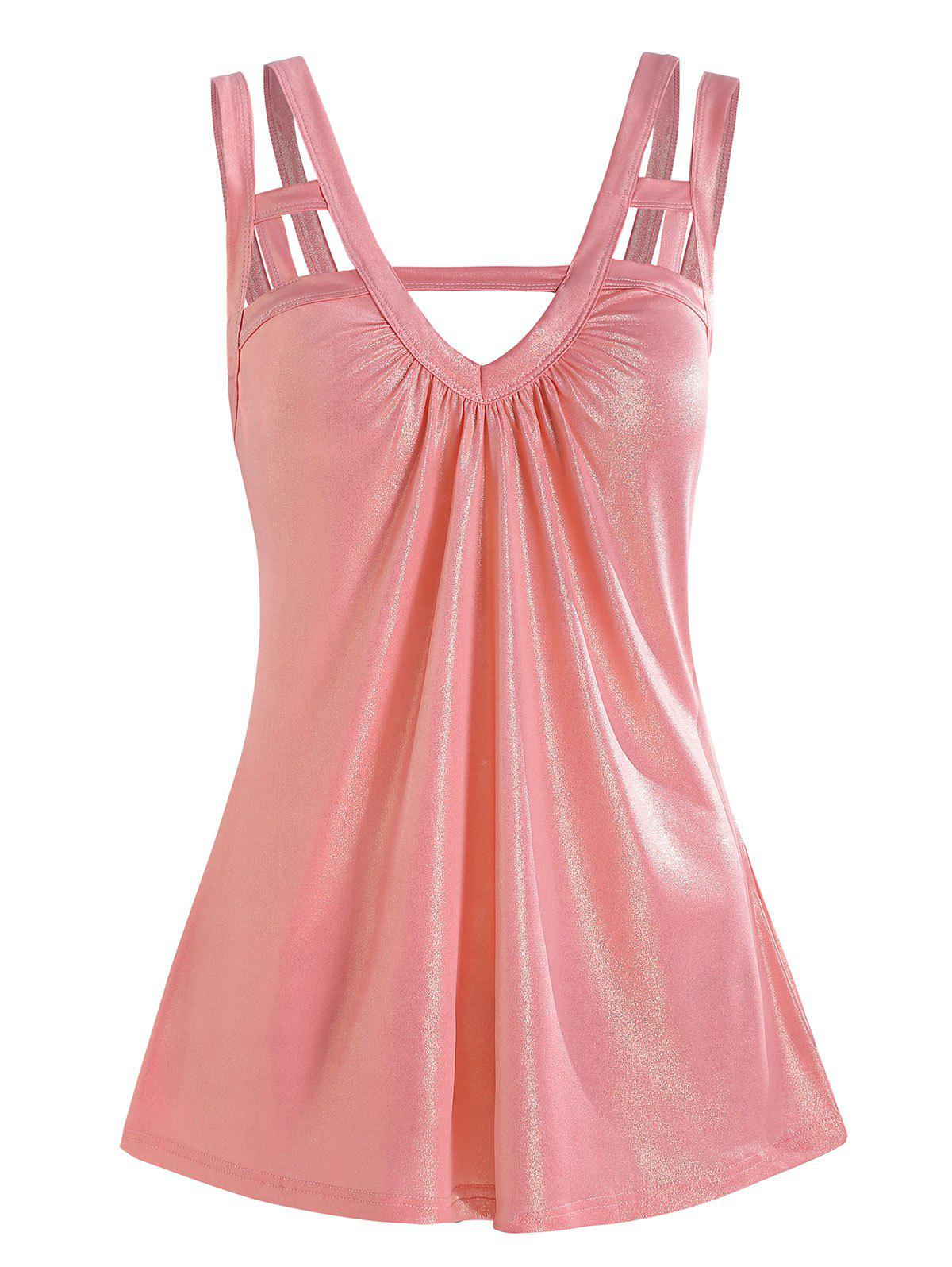 Strappy Backless Ruched V Neck Glitter Tank Top - PINK 3XL