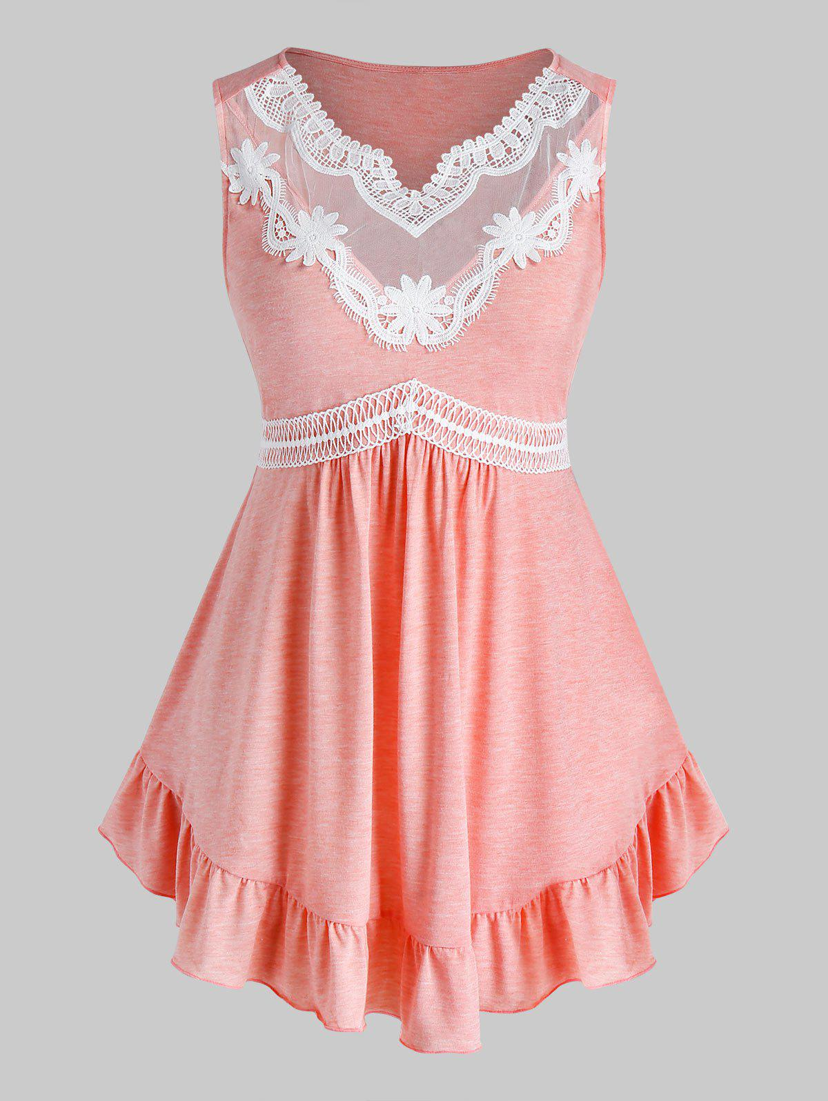 Plus Size Lace Guipure Flounce Tank Top - ORANGE PINK 5X
