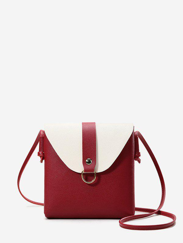 Colorblock Square Cover Crossbody Bag - RED WINE