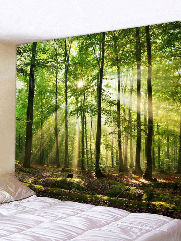Sunlit Forest Print Tapestry Wall Hanging Decor - GREEN ONION W79 X L71 INCH