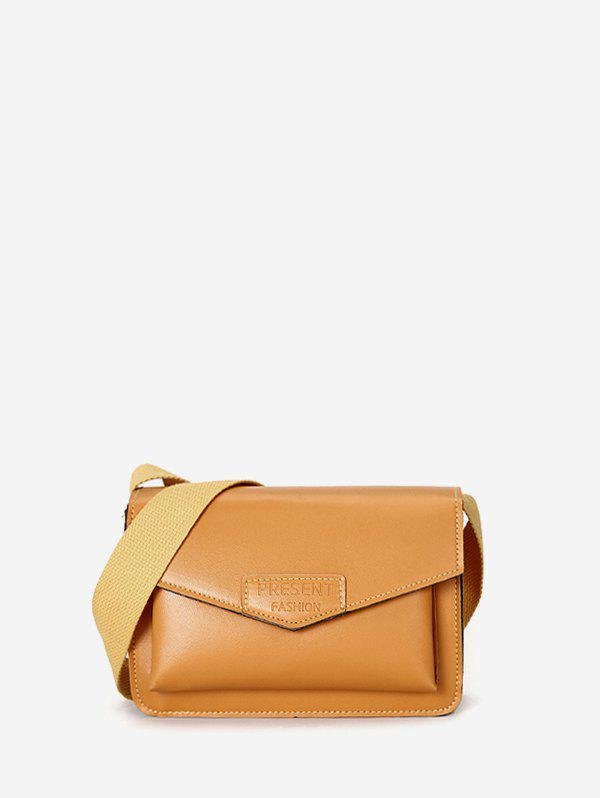Envelope Wide Strap Rectangle Crossbody Bag - BEE YELLOW