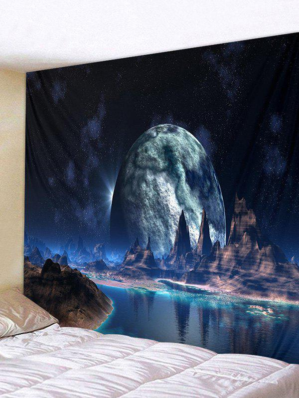 Planet Mountain River Print Tapestry Wall Hanging Art Decoration - multicolor W91 X L71 INCH