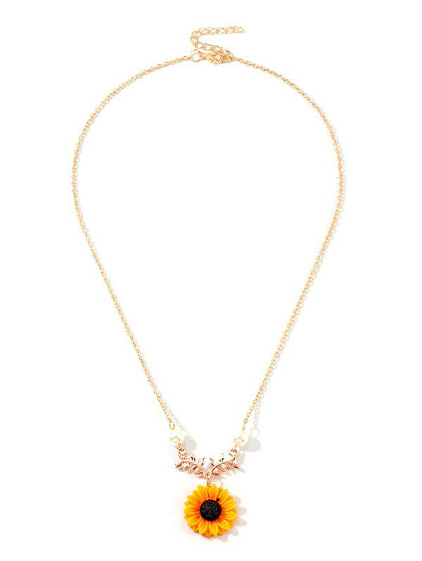 Sunflower Leaf Pendant Faux Pearl Necklace - GOLD