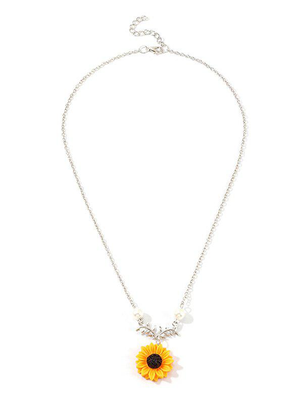 Sunflower Leaf Pendant Faux Pearl Necklace - SILVER