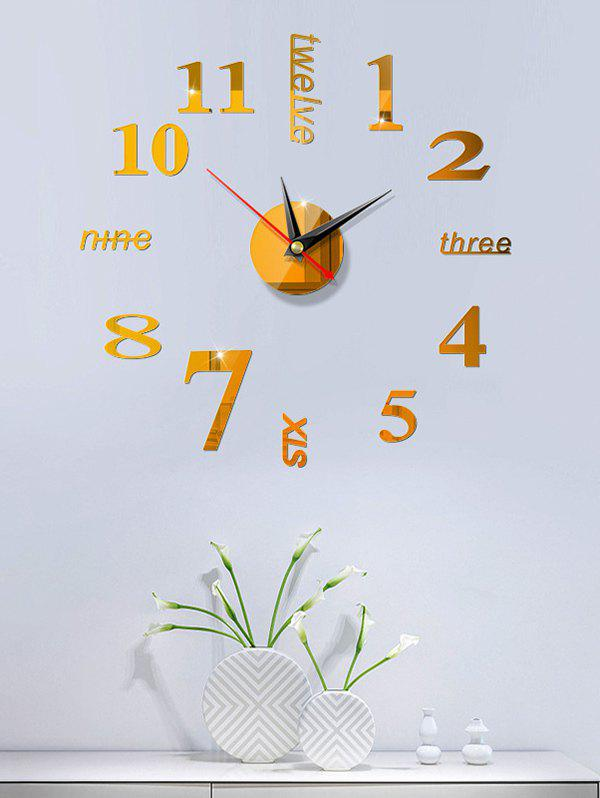Home Decoration Letters Pattern Analog DIY Wall Clock - GOLD