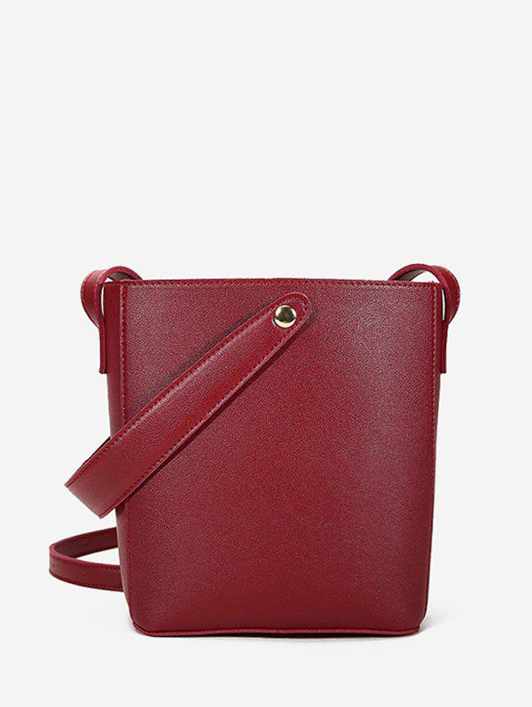 Casual Solid Square Cross Body Bag - RED WINE