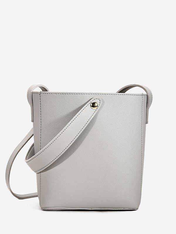 Casual Solid Square Cross Body Bag - LIGHT GRAY