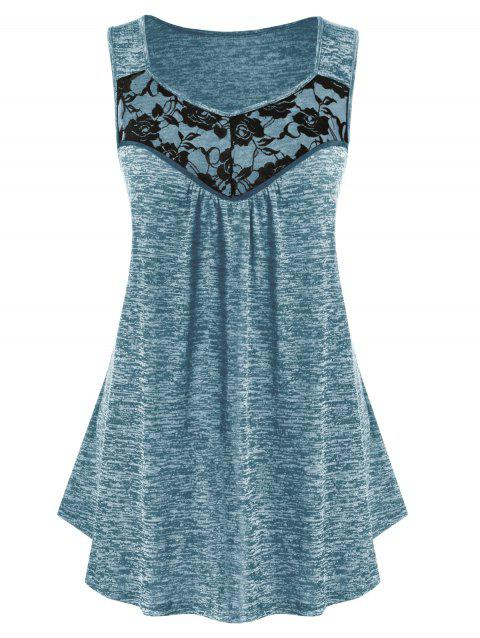 Plus Size Lace Insert Sweetheart Collar Marled Tank Top
