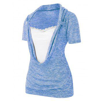 Plus Size Lace Splicing Cowl Front Marled T Shirt
