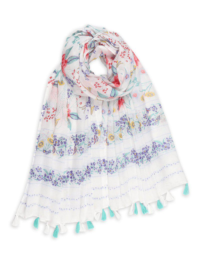 Floral Print Tassel Sun-proof Long Scarf - WHITE