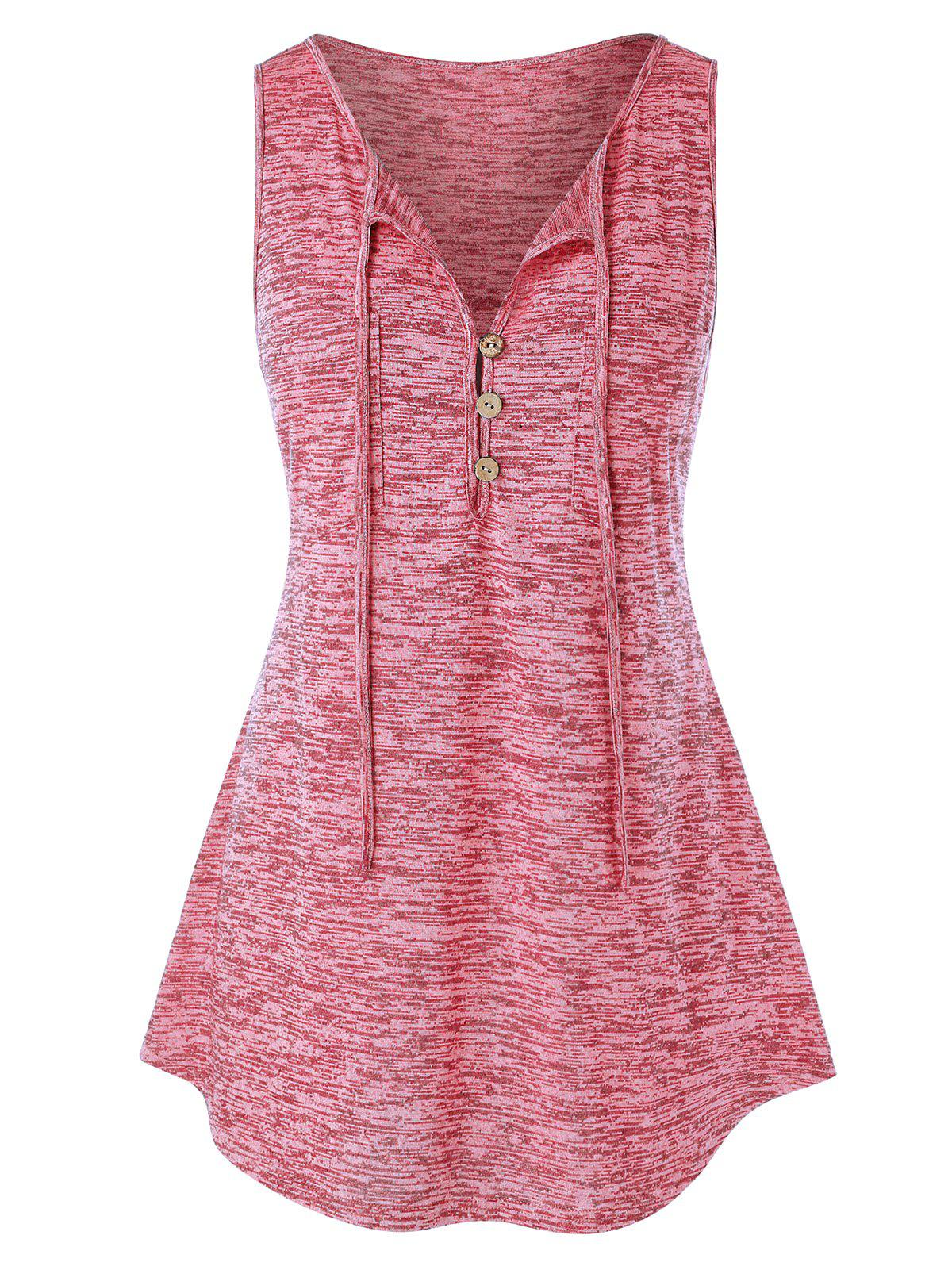 Plus Size Button Embellished Marled Tank Top - FLAMINGO PINK 2X