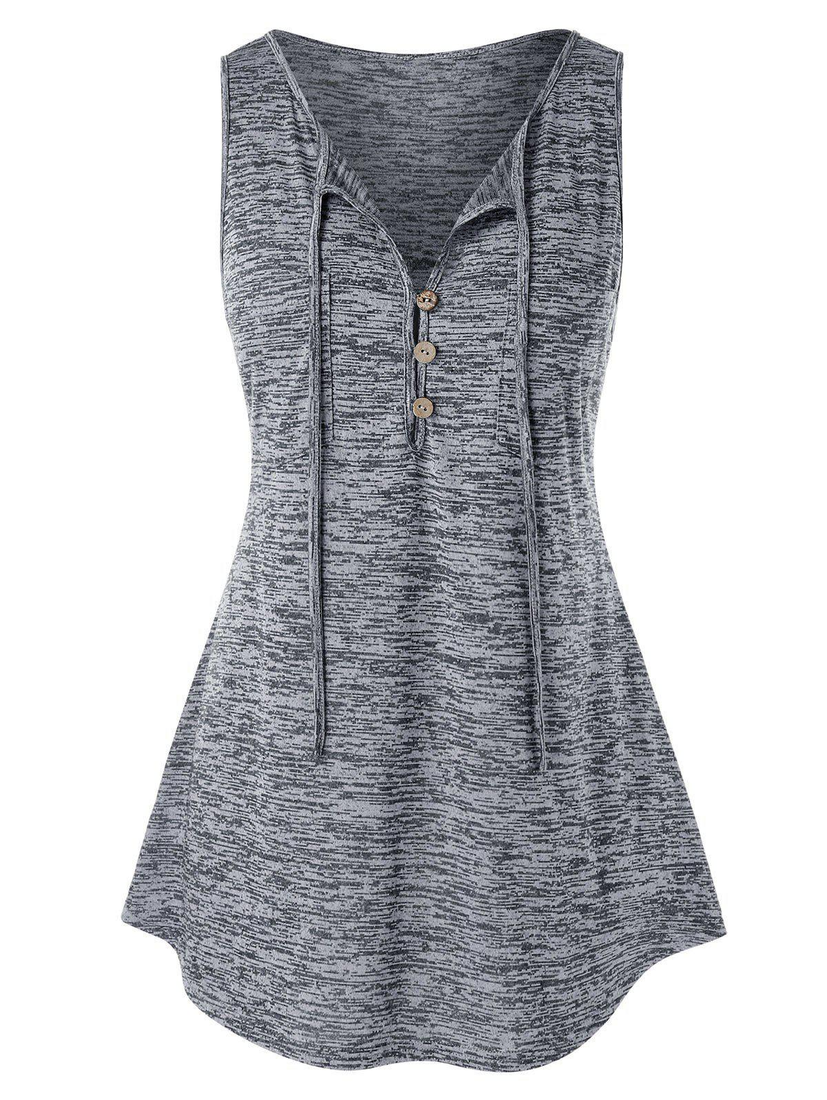 Plus Size Button Embellished Marled Tank Top - GRAY GOOSE 5X