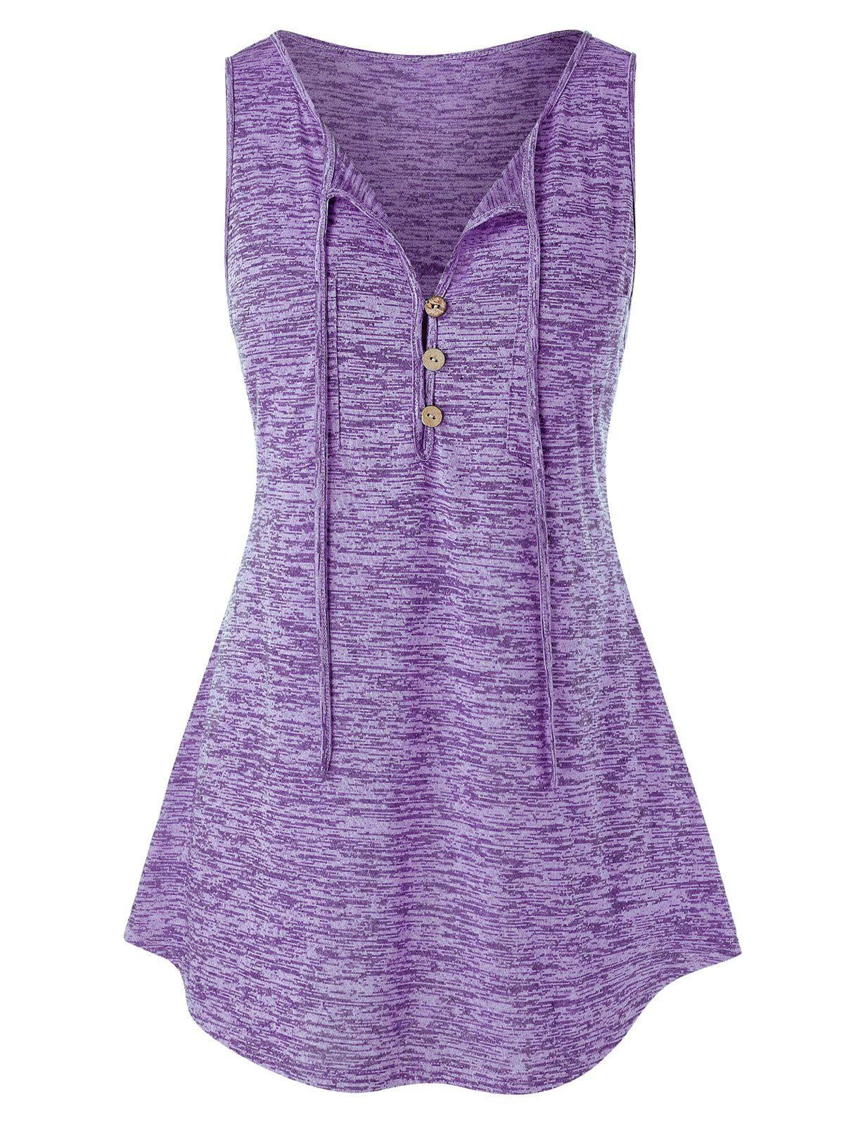 Plus Size Button Embellished Marled Tank Top - MAUVE 1X
