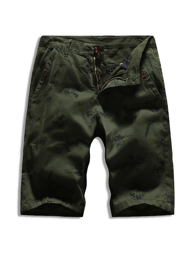 Buttoned Palm Tree Print Casual Shorts - ARMY GREEN 36